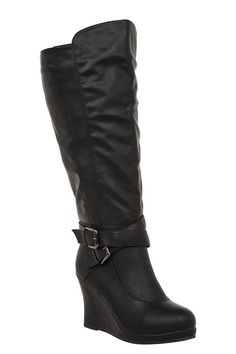 """As+temperatures+cool,+our+boot+styles+start+to+really+sizzle.+Crisscrossing+strap+and+buckle+accents+lend+visual+interest+to+a+pair+of+sleek+wedge+boots.+Features+a+side+zip+entry+and+a+side+elastic+panel+to+keep+the+calf+comfortable.Calf+fit+by+size:+7+fits+up+to+18.11"""",+8+-+18.5"""",+9+-+18.9"""",+10+-+19.29"""",+11+-+19.69"""",+12+-+20.08"""",+13+-+20.47"""""""