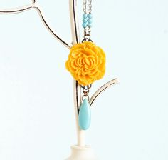 Teal and Yellow Flower Necklace Teal and by JacarandaDesigns, $32.00