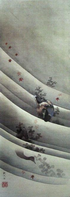 Katsushika Hokusai(葛飾北斎 Japanese, 1760-1849) Ducks in Flowing...