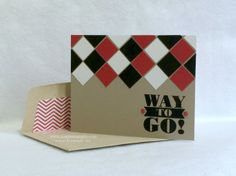 "handmade congratulations card ... kraft base with black, red and white ... luv the the strong pattern and bold sentiment block ... 3/4"" squares glued into a diamond pattern ... lined envelope ... fabulous card! ... Stampin' Up!"