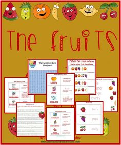 """The Fruits of the Spirit - Printable Pack Galatians 5:22-23 But the fruit of the Spirit is love, joy, peace, forbearance, kindness, goodness, faithfulness, gentleness and self-control. Against such things there is no law. Included: A study of the """"Fruits of the Spirit"""", Craft/activity, Word Search,  Fruit Recipe,  Bible Memorization,  Handwriting Practice, Bible Memory Cards - """"Fruits of the Spirit"""",  """"Letter F"""" for Fruit Activities, Matching Fun,  Pattern Activity  & More!"""