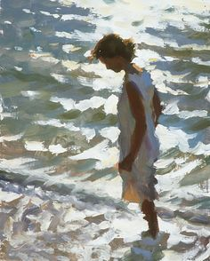 Figurative Painting by American Artist Jeffrey T. Larson. (Love the water)