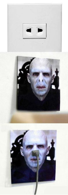 Picture of Voldemort over an outlet. Hilarious and genius.