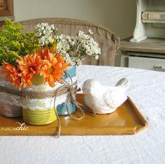 spring centerpiec, interior colors, idea, diy spring, cann, table centerpieces, flower, school colors, diy centerpieces