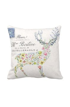 Pillow Cover Floral Deer Silhouette Woodland Decor