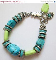 20OFF SALE Loving Turguoisel Bracelet Silver Handmade by nina68, $38.40