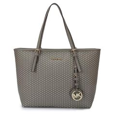 Michael Kors Jet Set Perforated Travel Medium Grey Totes Are High Quality And Cheap Price!
