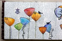 colorful flowers, daily journal, mothers day ideas, journal pages, art journals, journal art, book pages, flower types, old books