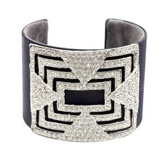 1920s Black satin vintage cuff featuring a sleek crystal design and a soft suede interior.