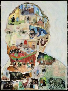 """Maison de Van Gogh"", 2004-2006, by Kathryn Yu who writes: ""What if all the artworks that an artist makes are coexisting inside of him/her?"" This would be a great idea for a kid's art project. Choose a famous artist & they can create a collage with their art."