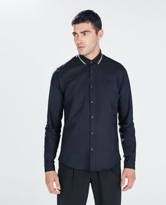 OXFORD SHIRT WITH KNIT COLLAR