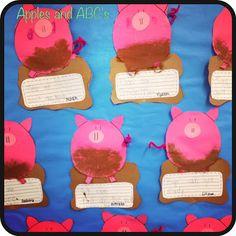 mud write, pig theme classroom, abc, down on the farm classroom, pigs