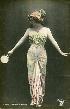 Original French vintage hand tinted real photo postcard - Actress Regina Badet in beautiful dress - Victorian Paper Ephemera
