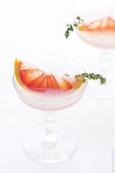 Blushing Kiss Martini with grapefruit and thyme