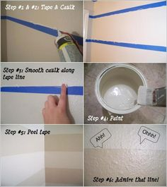 painting lines with tape and caulk, painting smooth lines, paint trim