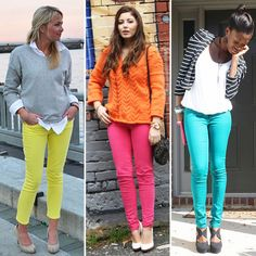 This neon/brights pant trend is one I can embrace especially when paired with a neutral top like the gray/white combo.