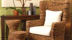 Hand-woven rattan furniture.