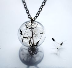 Dandelion Necklace Make A Wish Glass Bead by NaturalPrettyThings, $27.00