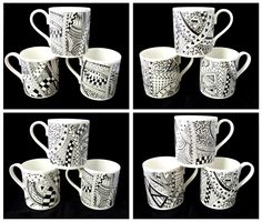 Bone china mugs with black and white zentangle design. | Kiln ...
