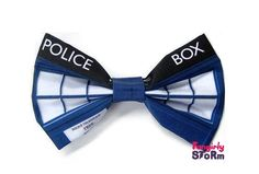 Dr. Who Tardis-  Hair bow or Bow tie Unique handmade Geeky Whovian  fabric bow tie
