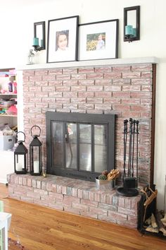 brick fireplace makeover, fireplac makeov, whitewash brick fireplace, fireplace makeovers