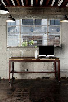Nice bench interior design, office designs, window, work desk, offices, industrial chic, desks, wooden tables, workspac