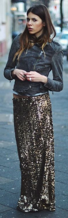 skirt, maxi, outfit, rocker chic