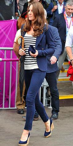 Kate Middleton's Olympic uniform: Smythe blazer, J Brand jeans, Stuart Weitzman wedges