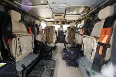 The interior of a Foxhound Light Protected Patrol Vehicle.