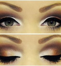 Pudding Pop!  USE Mary Kay colors.    1. Beach Blonde Cream Eyeshadow as a base  2.  Sweet Cream in the inner corners  3. Sienna on the bottom outer lid  4. Cinnabar in the crease and the very outer lid  5.  Black liquid eye liner  6.  Top it off with Lash Love Black Mascara!