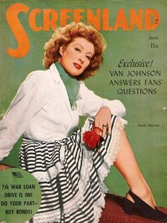 """Greer Garson on the cover of """"Screenland"""" magazine"""
