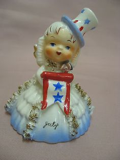VTG Napco 4th of July Birthday Angel Girl w/ Banner  Bell Figurine