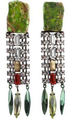 Iosselliani Green Stone & Crystal Earrings