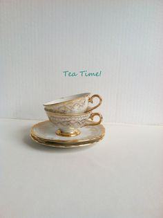 Set of 2 - Vintage Demitasse Tea Set/Hollywood Regency/Mad Men - Circa 1960's