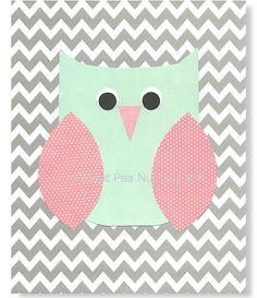 Owl Pink Aqua and Gray wall art. So cute!