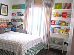 great idea for shelves on both sides of windows for kiddo room.