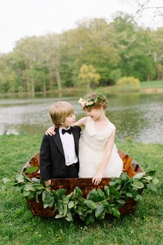 flower girl and ring bearer, photo by L. Hewitt Photography http://ruffledblog.com/19th-century-stone-house-inspiration #weddings #flowergirl