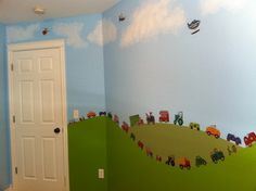Spotted on Amazon: rolling green hills and painted blue skies serve as a background to our Transportation wall decals. Wonderful! ^nk