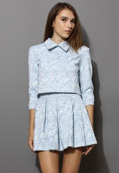 Blue Floral Embroidery Top and Skirt Set