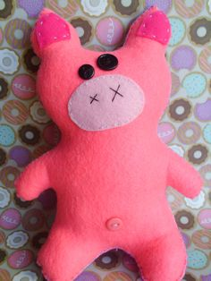 Cute Pink and Purple Plush Pig Piggy