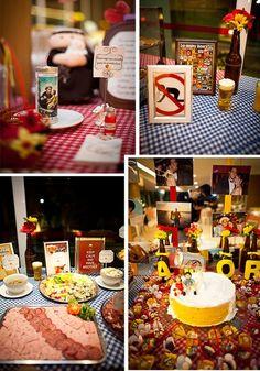 Mais imagens da mesa com garrafinhas, e o Santo Antônio