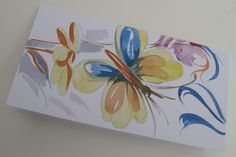 Butterfly. Hand made watercolor greeting card. Pastel tones. #Birthday