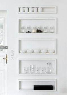 White on white shelves