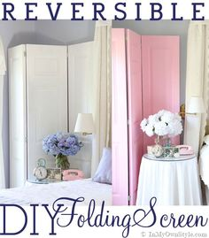 How to make a Reversible-Folding-Screen- doors, decor fold, idea, craft, folding screens, diy room, screen diy, fold screen, room dividers
