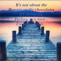 It's not about the flowers or the chocolates, it's about the feeling, it is love..unexplainable..
