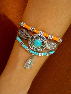 native tribal LEATHER CUFF BRACELET, leather Anklet, orange turquoise silver, Western beaded Bracelet, gypsy Hippie Cowgirl bracelet