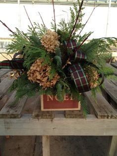 Dried hydrangea Christmas arrangement