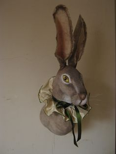 Jackrabbit Hare Soft Sculpture  Trophy head by winding on Etsy, £250.00