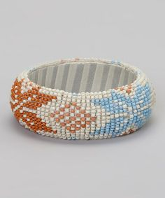 Loving this Rust & Sky Beaded Bangle on #zulily! #zulilyfinds