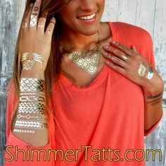 Sexy Boho Chic Metallic Tattoos are the hottest new fall fashion trend for 2014. See our ShimmerTatts website today! www.ShimmerTatts.com
